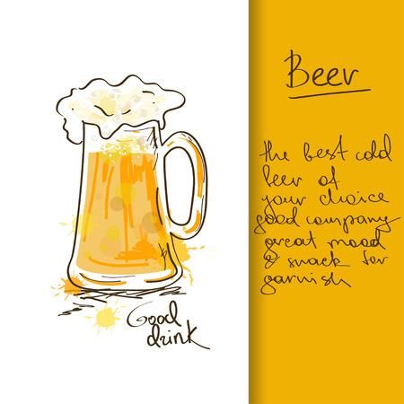 手描き下ろしビール ジョッキとイラスト  イラスト・ベクター素材
