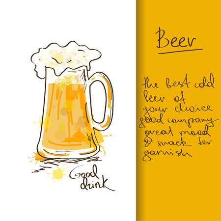 Illustration with hand drawn beer mug Vector