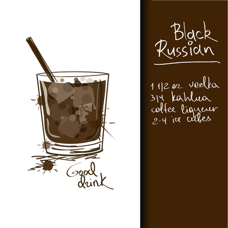 Illustration with hand drawn Black Russian cocktail Vector