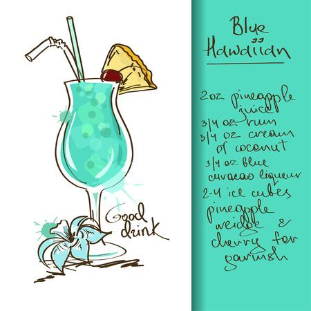 ハワイアン ブルーのカクテルを片手に手描きイラスト  イラスト・ベクター素材