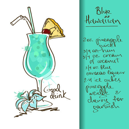 tiki party: Illustration with hand drawn Blue Hawaiian cocktail Illustration