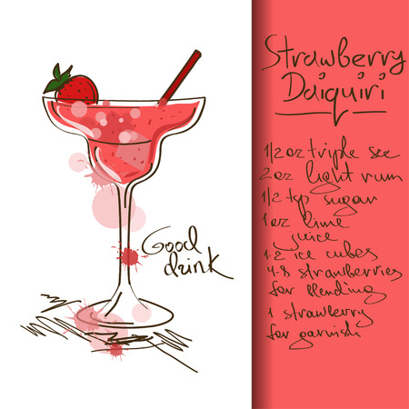 liquor: Illustration with hand drawn Strawberry Daiquiri cocktail Illustration