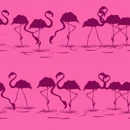 flamingos: Seamless pattern of flamingos on a pink background Illustration