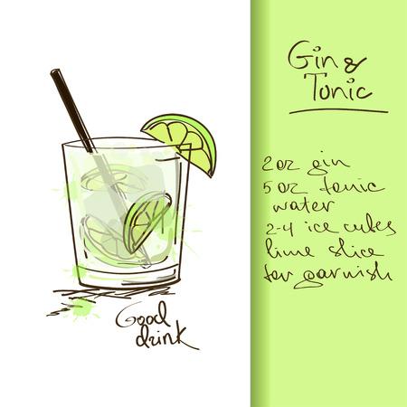 Ilustración con Gin dibujado a mano y cócteles Tonic