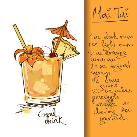 vacances d �t�: Illustration tir�e par la main avec cocktail Mai Tai