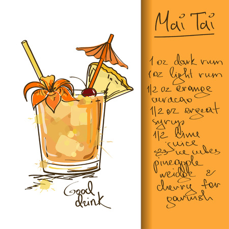 Ilustración con cóctel Mai Tai dibujado a mano
