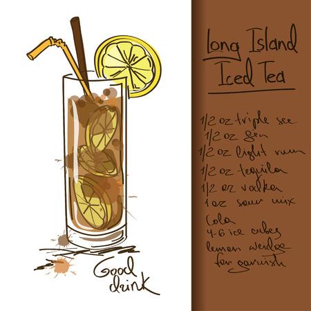 té helado: Ilustración con el Long Island Iced Tea cóctel Vectores