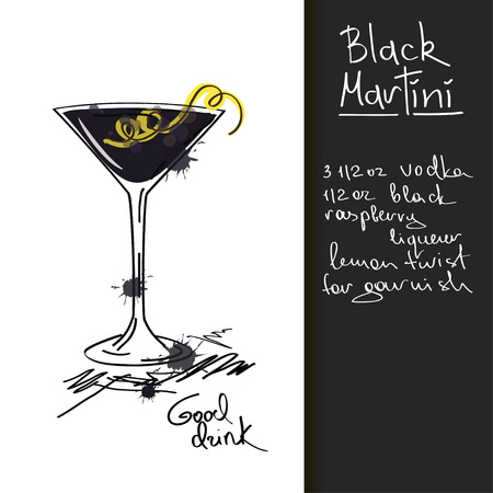 Illustration with hand drawn Black Martini cocktail Vector