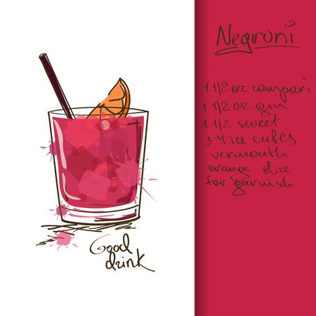 ネグローニ カクテルを片手に手描きイラスト