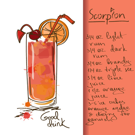 Illustration with hand drawn Scorpion cocktail Vector