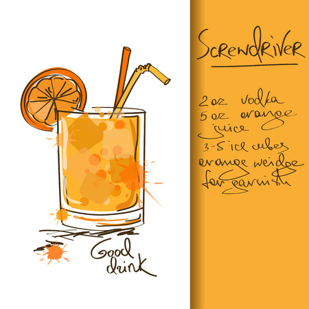 Illustration with hand drawn Screwdriver cocktail Illustration