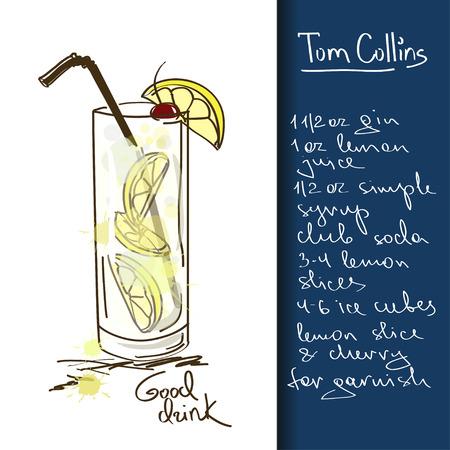 손으로 그린 톰 콜린스 칵테일 그림