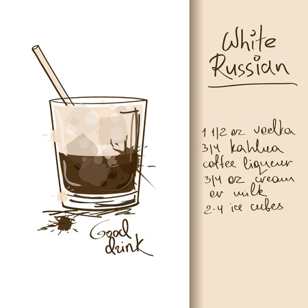 Illustration with hand drawn White Russian cocktail