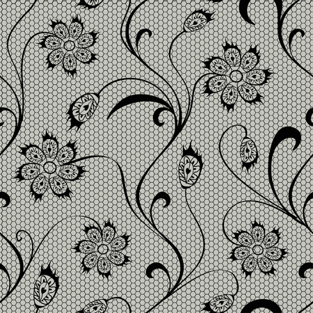 Black floral lace seamless pattern Vector