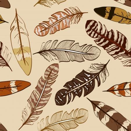 atrapasueños: Patrón transparente de dibujado a mano plumas de aves Vectores