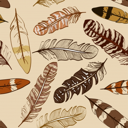 Seamless pattern of hand drawn bird feathers Vector