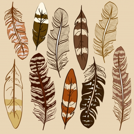 fastening: Set of isolated hand drawn feather icons