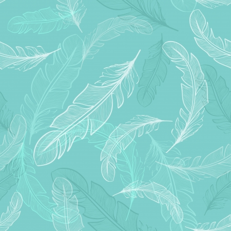 Seamless pattern of light transparent bird feathers Vector