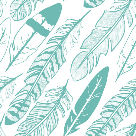 Seamless pattern of white and blue bird feathers Vector
