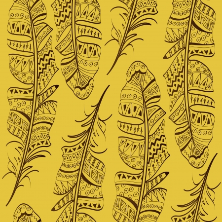 Seamless pattern of tribal bird feathers on yellow background Illustration