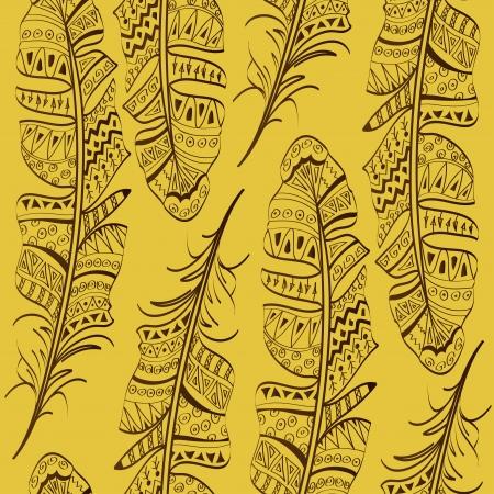 tollas: Zökkenőmentes minta törzsi madártoll sárga háttér