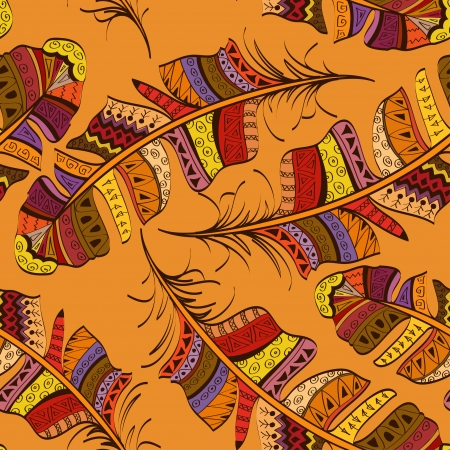 Seamless pattern of colorful tribal ornate bird feathers on orange background Vector
