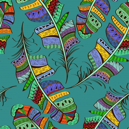 Seamless pattern of colorful tribal ornate bird feathers on blue background