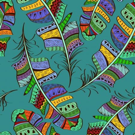 tollas: Zökkenőmentes minta színes törzsi díszes madár tollak a kék háttér Illusztráció