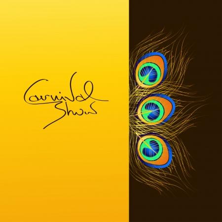 indianen: Uitnodiging carnaval met iriserende pauwenveren Stock Illustratie