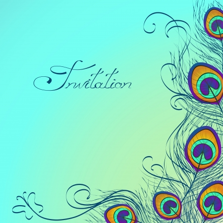 Card or invitation with iridescent peacock feathers decoration on blue background Иллюстрация