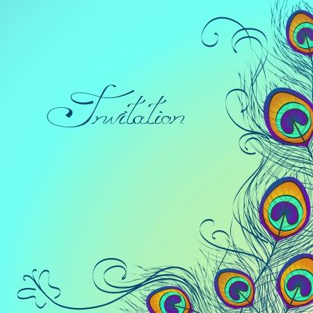 Tarjeta o invitación con iridiscentes plumas de pavo real decoración sobre fondo azul Foto de archivo - 23504032