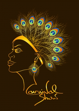 carnival costume: Carnival invitation with outline beautiful woman in peacock feathers headdress Illustration