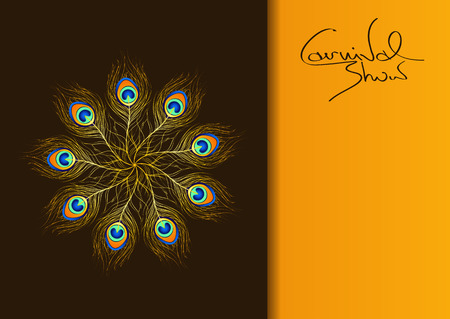 Carnival invitation with iridescent peacock feathers Vector