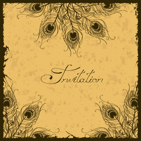Illustration with vintage peacock feathers decoration Vector