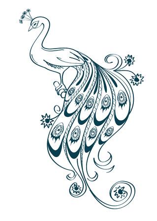 Illustratie met geïsoleerde overzicht gestileerde sier pauw op witte achtergrond