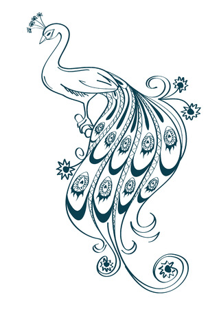 Illustration with isolated outline stylized ornamental peacock on white background