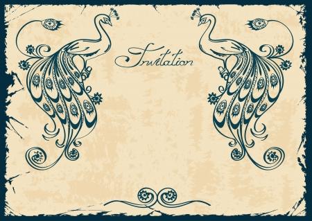 ビンテージ招待または青のアウトライン孔雀を持つカード  イラスト・ベクター素材