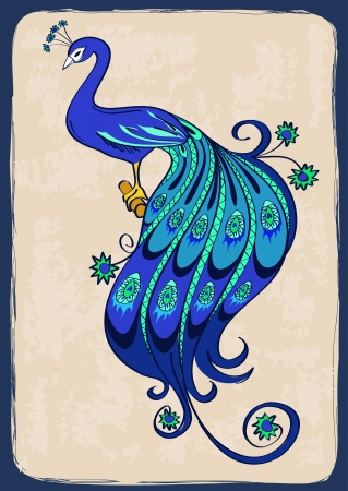 Illustration with blue stylized ornamental peacock Illustration
