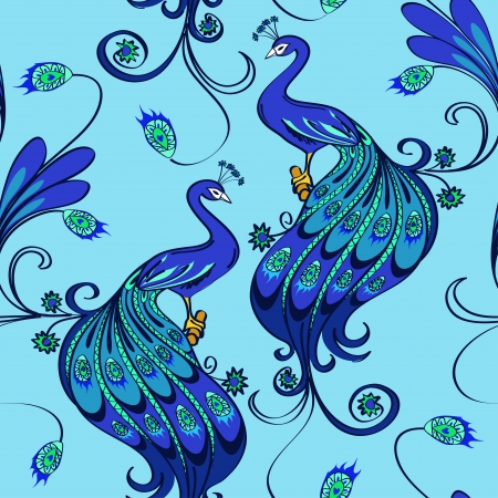 Seamless pattern of beautiful blue magic peacocks Vector