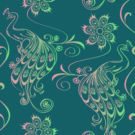 ave fenix: Patrón de la vendimia sin problemas con los pavos reales y flores de contorno