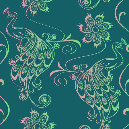 peacock eye: Vintage seamless pattern with outline peacocks and flowers