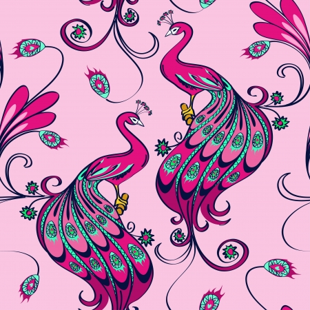 Seamless pattern of beautiful pink magic peacocks Vector