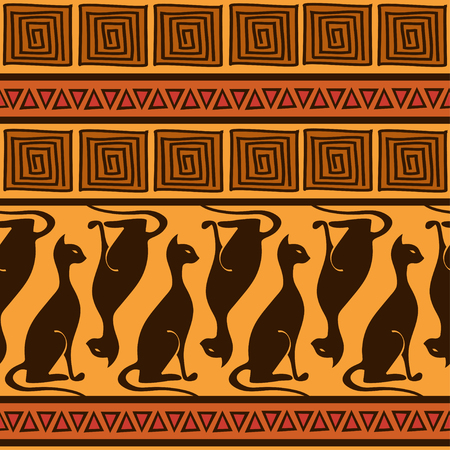 African ornament seamless pattern with elegance cats Stock Vector - 23504051