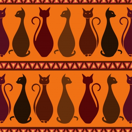 Seamless pattern of tribal elegance African cats Vector