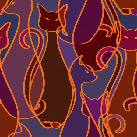 アフリカの猫の部族の優雅さのシームレスなパターン  イラスト・ベクター素材