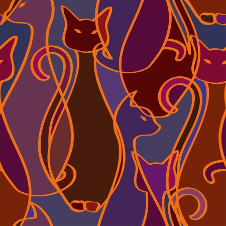 Seamless pattern of tribal elegance African cats