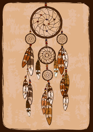 american dream: Illustration with tribal native American Indian dreamcatcher