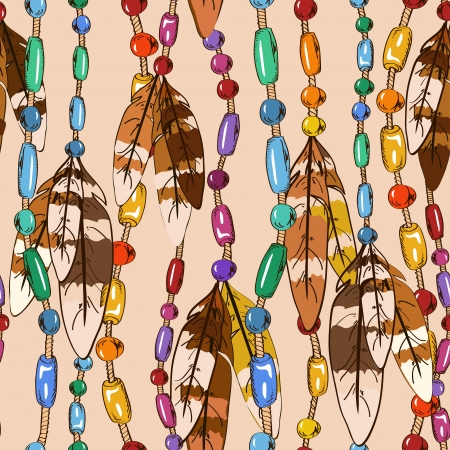 bijouterie: Seamless pattern of hanging bird feathers and colorful bijouterie
