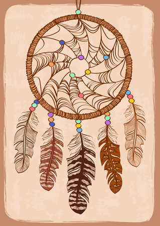 dreamcatcher: Illustration with tribal native American Indian dreamcatcher