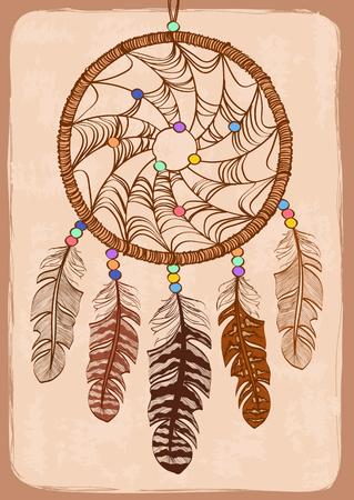 atrapasueños: Ilustración con tribal nativa atrapasueños indio americano